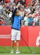 27 September 2016; One Direction singer Niall Horan acknowledges the gallery on the 1st tee box before their round of the Celebrity Matches at The 2016 Ryder Cup Matches at the Hazeltine National Golf Club in Chaska, Minnesota, USA. Photo by Ramsey Cardy/Sportsfile