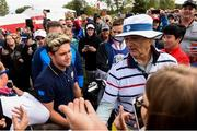 27 September 2016; Singer Niall Horan, left, of Europe and Actor Bill Murray of USA during the Celebrity Matches at The 2016 Ryder Cup Matches at the Hazeltine National Golf Club in Chaska, Minnesota, USA. Photo by Ramsey Cardy/Sportsfile