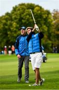 27 September 2016; Former Ireland and Munster rugby player Paul O'Connell watches a shot by team-mate Singer Niall Horan of Europe during the Celebrity Matches at The 2016 Ryder Cup Matches at the Hazeltine National Golf Club in Chaska, Minnesota, USA. Photo by Ramsey Cardy/Sportsfile