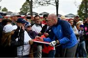27 September 2016; Former Ireland and Munster rugby player Paul O'Connell of Europe signs autographs during the Celebrity Matches at The 2016 Ryder Cup Matches at the Hazeltine National Golf Club in Chaska, Minnesota, USA. Photo by Ramsey Cardy/Sportsfile