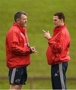28 September 2016; Munster head coach Anthony Foley, left, and director of rugby Rassie Erasmus in conversation during Munster Rugby Squad Training at University of Limerick in Limerick. Photo by Diarmuid Greene/Sportsfile