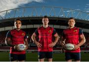 29 September 2016; Adidas Ambassadors and Munster Rugby players, from left, Francis Saili, Peter O'Mahony and CJ Stander pictured at the launch of the new Munster Rugby European kit at Thomond Park in Limerick. The new jersey is available exclusively at Life Style Sports, along with all associated Munster Rugby team-wear. See www.lifestylesports.com for further details. Photo by Sam Barnes/Sportsfile