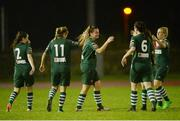 28 September 2016; Saoirse Noonan of Cork City WFC, centre, is congratulated by teammates after scoring her side's third goal during the Continental Tyres Women's National League match between Kilkenny United WFC and Cork City WFC at The Watershed in Kilkenny. Photo by Seb Daly/Sportsfile