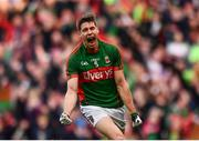 1 October 2016; Lee Keegan of Mayo celebrates after scoring his side's first goal during the GAA Football All-Ireland Senior Championship Final Replay match between Dublin and Mayo at Croke Park in Dublin. Photo by Brendan Moran/Sportsfile