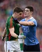 1 October 2016;Diarmuid Connolly of Dublin and Lee Keegan of Mayo tussle during the GAA Football All-Ireland Senior Championship Final Replay match between Dublin and Mayo at Croke Park in Dublin. Photo by Sam Barnes/Sportsfile
