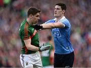 1 October 2016; Diarmuid Connolly of Dublin and Lee Keegan of Mayo tussle during the GAA Football All-Ireland Senior Championship Final Replay match between Dublin and Mayo at Croke Park in Dublin. Photo by Sam Barnes/Sportsfile