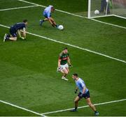 1 October 2016; Lee Keegan of Mayo celebrates after scoring his side's first goal during the GAA Football All-Ireland Senior Championship Final Replay match between Dublin and Mayo at Croke Park in Dublin. Photo by Daire Brennan/Sportsfile