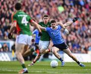 1 October 2016; Diarmuid Connolly of Dublin is fouled by Lee Keegan of Mayo resulting in a black card for Lee Keegan during the GAA Football All-Ireland Senior Championship Final Replay match between Dublin and Mayo at Croke Park in Dublin. Photo by Stephen McCarthy/Sportsfile