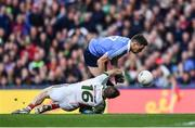 1 October 2016; Paddy Andrews of Dublin is tackled by Robert Hennelly of Mayo, resulting in a penalty for Dublin, during the GAA Football All-Ireland Senior Championship Final Replay match between Dublin and Mayo at Croke Park in Dublin. Photo by Brendan Moran/Sportsfile