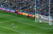 1 October 2016; Diarmuid Connolly of Dublin scores his side's first goal from a penalty past David Clarke of Mayo during the GAA Football All-Ireland Senior Championship Final Replay match between Dublin and Mayo at Croke Park in Dublin. Photo by Daire Brennan/Sportsfile