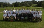 13 September 2003; Pictured at the All-Ireland finals of the Bulmers Jimmy Bruen Shield at Lisburn Golf Club, are the Castle G.C. team who beat Greenisland by 4-1 in the final. Back row (left to right): Declan Lernihan, Brian Gleeson, Liam Reynolds, Diarmuid McAuliffe, Trevor Steedman, Alan Power, Gary Moran, Ross Kinsella, John Bourke, Tadgh OÕConnor, Martin Wilson, Brian Kane, Anthony Slaughter and Karl Swaine. Front row (left to right): Shea OÕFlanagan, John Whooley, Peter Church, Michael OÕDonoghue (President GUI), Ken OÕNeill (Captain), Harry Gleeson (Team Captain), Maurice Breen (Marketing Director, Bulmers), David Kinsella and Gerry Dunne. Picture credit; Ray McManus / SPORTSFILE