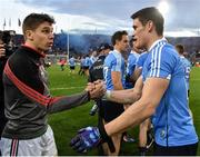 1 October 2016; Lee Keegan, left, of Mayo shakes hands with Diarmuid Connolly of Dublin after the GAA Football All-Ireland Senior Championship Final Replay match between Dublin and Mayo at Croke Park in Dublin. Photo by Brendan Moran/Sportsfile