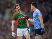 1 October 2016; Diarmuid Connolly of Dublin holds the jersey of Lee Keegan of Mayo during the GAA Football All-Ireland Senior Championship Final Replay match between Dublin and Mayo at Croke Park in Dublin. Photo by Piaras Ó Mídheach/Sportsfile