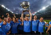 1 October 2016; Dublin's Diarmuid Connolly, centre, and team mates celebrate with the Sam Maguire cup after the GAA Football All-Ireland Senior Championship Final Replay match between Dublin and Mayo at Croke Park in Dublin. Photo by Stephen McCarthy/Sportsfile
