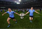 1 October 2016; Cormac Costello, left, of Dublin and Diarmuid Connolly celebrate with the Sam Maguire cup after the GAA Football All-Ireland Senior Championship Final Replay match between Dublin and Mayo at Croke Park in Dublin. Photo by Stephen McCarthy/Sportsfile