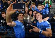 1 October 2016; Bernard Brogan of Dublin takes a selfie with teammate Paul Flynn and supporters after the GAA Football All-Ireland Senior Championship Final Replay match between Dublin and Mayo at Croke Park in Dublin. Photo by Paul Mohan/Sportsfile
