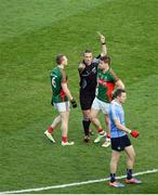 1 October 2016; Lee Keegan of Mayo receives a black card from referee Maurice Deegan during the GAA Football All-Ireland Senior Championship Final Replay match between Dublin and Mayo at Croke Park in Dublin. Photo by Daire Brennan/Sportsfile