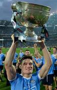 1 October 2016; Diarmuid Connolly of Dublin lifting the Sam Maguire Cup after the GAA Football All-Ireland Senior Championship Final Replay match between Dublin and Mayo at Croke Park in Dublin. Photo by Eóin Noonan/Sportsfile