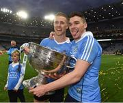 1 October 2016; Paul Mannion  and Paddy Andrews of Dublin celebrate at the end of the GAA Football All-Ireland Senior Championship Final Replay match between Dublin and Mayo at Croke Park in Dublin. Photo by David Maher/Sportsfile