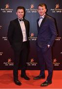 3 November 2017; Cork hurlers Conor Lehane, left, and Damien Cahalane upon arrival at the PwC All Stars 2017 at the Convention Centre in Dublin. Photo by Seb Daly/Sportsfile