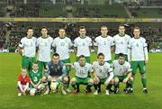 8 February 2011; Republic of Ireland team, back row left to right, Sean St. Ledger, Ciaran Clark, Jonathan Walters, Darron Gibson, Richard Dunne, John O'Shea and Glenn Whelan, front row left to right, Shay Given, Damien Duff, Kevin Doyle and Seamus Coleman. Carling Four Nations Tournament, Republic of Ireland v Wales, Aviva Stadium, Lansdowne Road, Dublin. Picture credit: David Maher / SPORTSFILE