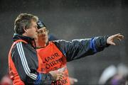 9 February 2011; Cavan joint managers, Val Andrews, right, and Terry Hyland chats over tactics on the sideline. Barrett Sports Lighting Dr. McKenna Cup Semi-Final, Tyrone v Cavan, Brewster Park, Enniskillen, Co. Fermanagh. Picture credit: Oliver McVeigh / SPORTSFILE