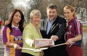 10 February 2011; The Camogie Association has announced that the Irish Daily Star will sponsor the National Camogie Leagues in a two year deal. The news was announced this afternoon at a photocall to mark the beginning of this year's National League. Twenty three counties will play in four divisions with finals taking place in April. Pictured at the launch were Una Lacey, Wexford, Joan O'Flynn, President of the Camogie Association, Paul Cooke, Managing Director, Irish Daily Star, and Aisling Connolly, Galway. Mespil Road, Dublin. Picture credit: Matt Browne / SPORTSFILE