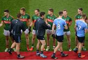 1 October 2016; Diarmuid Connolly of Dublin shakes hands with Lee Keegan of Mayo ahead of the GAA Football All-Ireland Senior Championship Final Replay match between Dublin and Mayo at Croke Park in Dublin. Photo by Daire Brennan/Sportsfile