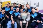 2 October 2016; Dublin manager Jim Gavin, centre, and a selection of players with Luke Norton, 13,  from Finglas West, Co Dublin, and the Sam Maguire Cup during their visit to the Temple Street Children's Hospital in Dublin. Photo by Sam Barnes/Sportsfile