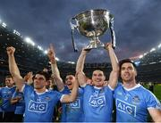 1 October 2016; Dublin players, from left, Bernard Brogan, Paddy Andrews, Diarmuid Connolly and Michael Darragh MacAuley celebrate with the Sam Maguire Cup following the GAA Football All-Ireland Senior Championship Final Replay match between Dublin and Mayo at Croke Park in Dublin. Photo by Stephen McCarthy/Sportsfile