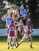 12 February 2011; Terence O'Brien and Nathan Rocks, right, St Mary's Magherafelt, in action against Brendan Donaghy and Matthew McCaffrey, right, Omagh CBS. MacRory Cup Quarter-Final, St Mary's Magherafelt v Omagh CBS, Sean MacDermott's GAA Club, Maghery, Co. Armagh. Picture credit: Oliver McVeigh / SPORTSFILE