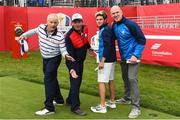 27 September 2016; On the 1st tee box, from left, actor Bill Murray, singer Huey Lewis, One Direction singer Niall Horan and former Ireland and Munster rugby capatin Paul O'Connell before their round of the Celebrity Matches at The 2016 Ryder Cup Matches at the Hazeltine National Golf Club in Chaska, Minnesota, USA. Photo by Ramsey Cardy/Sportsfile