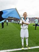 1 October 2016; Pictured is Sean Mooney, age 9, from Artane, Dublin, who won an AIB flagbearer competition to wave on Dublin at the GAA Football All-Ireland Senior Championship Final Replay match between Dublin and Mayo at Croke Park in Dublin. Photo by David Maher/Sportsfile