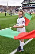 1 October 2016; Pictured is Annabelle Kenny, age 8, from Corrandulla, Co. Galway, who won an AIB flagbearer competition to wave on Mayo at the GAA Football All-Ireland Senior Championship Final Replay match between Dublin and Mayo at Croke Park in Dublin. Photo by Brendan Moran/Sportsfile