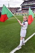 1 October 2016; Pictured is Emma O'Shea, age 8, from Ballinrobe, Co. Mayo, who won an AIB flagbearer competition to wave on Mayo at the GAA Football All-Ireland Senior Championship Final Replay match between Dublin and Mayo at Croke Park in Dublin. Photo by Brendan Moran/Sportsfile