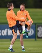 3 October 2016; Seamus Coleman, left and James McCarthy of Republic of Ireland during squad training at the FAI National Training Centre in Abbotstown, Dublin. Photo by David Maher/Sportsfile