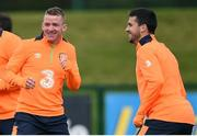 3 October 2016; Johnny Hayes, left and Shane Long of Republic of Ireland during squad training at the FAI National Training Centre in Abbotstown, Dublin. Photo by David Maher/Sportsfile