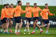 3 October 2016; Republic of Ireland players from left Eunan O'Kane, James McClean, Richard Keogh, Paul McShane, Jonathan Walters and Alex Pearce during squad training at the FAI National Training Centre in Abbotstown, Dublin. Photo by David Maher/Sportsfile