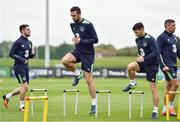 4 October 2016; Shane Duffy and Wes Hoolahan, right, of Republic of Ireland during squad training at the FAI National Training Centre in Abbotstown, Dublin.   Photo by Paul Mohan/Sportsfile