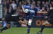 28 September 2001; Victor Costello, Leinster, in action against IsitotoMaka, left, and Cedric Debrosse, Toulouse. Leinster v Toulouse, Heineken European Cup, Donnybrook, Dublin, Ireland. Rugby. Picture credit; Brendan Moran / SPORTSFILE *EDI*
