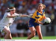 30 September 2001; Emma Mannion, Roscommon, in action against Janice O'Brien, Kildare . Kildare v Roscommon, All Ireland Ladies Junior Football Final, Croke Park, Dublin. Picture credit; Aoife Rice / SPORTSFILE