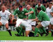 20 October 2001; Jonny Wilkinson, England, is tackled by Ireland's David Wallace, right, Keith Wood and Anthony Foley. Ireland v England, Six Nations Championship, Lansdowne Road, Dublin. Rugby. Picture credit; Brendan Moran / SPORTSFILE