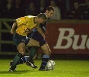 25 October 2001; David Morrison, left, Bohemians, in action against John Martin, UCD. UCD v Bohemians, eircom League Premier Division, Belfield Park, Dublin. Picture credit; Brendan Moran / SPORTSFILE *EDI*