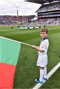 1 October 2016; eir Flagbearer Nathan McCluskey, age 8, from Luisburgh, Co. Mayo, at the GAA Football All-Ireland Senior Championship Final Replay match between Dublin and Mayo at Croke Park in Dublin. Photo by Brendan Moran/Sportsfile