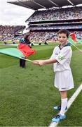 1 October 2016; eir Flagbearer Darragh Judge, age 12, from Claremorris, CO. Mayo, at the GAA Football All-Ireland Senior Championship Final Replay match between Dublin and Mayo at Croke Park in Dublin. Photo by Brendan Moran/Sportsfile