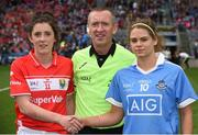25 September 2016; Team captains Ciara O'Sullivan of Cork and Noelle Healy of Dublin shake hands in the company of referee Brendan Rice during the Ladies Football All-Ireland Senior Football Championship Final match between Cork and Dublin at Croke Park in Dublin.  Photo by Brendan Moran/Sportsfile