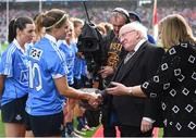 25 September 2016; Dublin captain Noelle Healy is introduced to President of Ireland Michael D Higgins by Marie Hickey, President, LGFA, before the Ladies Football All-Ireland Senior Football Championship Final match between Cork and Dublin at Croke Park in Dublin.  Photo by Brendan Moran/Sportsfile
