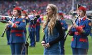 25 September 2016; Caitríona Sherlock sings Amhrán na bhFiann before the Ladies Football All-Ireland Senior Football Championship Final match between Cork and Dublin at Croke Park in Dublin.  Photo by Brendan Moran/Sportsfile