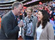 25 September 2016; MC Daithí Ó Sé interviews former players Juliet Murphy of Cork and Denise Masterson, right, of Dublin during half-time in the Ladies Football All-Ireland Senior Football Championship Final match between Cork and Dublin at Croke Park in Dublin.  Photo by Brendan Moran/Sportsfile