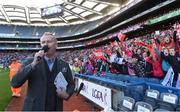 25 September 2016; MC Daithí Ó Sé announces a record crowd of 34,445 during half-time in the Ladies Football All-Ireland Senior Football Championship Final match between Cork and Dublin at Croke Park in Dublin.  Photo by Brendan Moran/Sportsfile